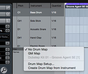 The 'Create Drum Map from Instrument' option will interrogate your VSTi and attempt to populate your Drum Map with a  full list of the drum sounds in the current preset.