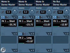 Why use linked channels instead of Group tracks? As well as the convenience of record-enabling, soloing or changing the levels of several tracks at once, you avoid the problems of balancing dry sounds with send effects that you get when using Group channels.