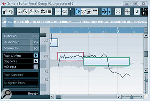 On the left, the pitch curve suggests the green segment actually contains two different notes. On the right, the segment has been split into two using the scissors tool and the segment boundary aligned with the change in the pitch curve and waveform.