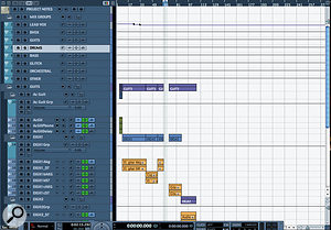 Group channels are a good means of regaining some control over unwieldy mixes. By default they're placed together (as shown in the Mixer view here) but you can move them around like other tracks to form subgroups for multi-miked instruments or other complex setups.