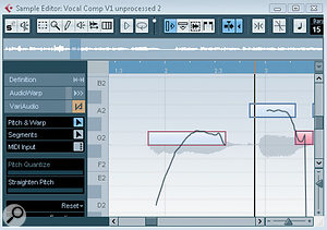 On the left, the singer has generated alarge pitch scoop into the note. On the right, the Straight Pitch control has been used to make this less pronounced.