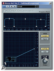 A three-band Multiband Compressor with the compression kicking in for each band at -40dB.