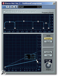 In this example, four bands are being used, with a higher compression ratio set for the low band to give a little firmer control on the bass.