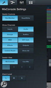 The MixConsole Settings screen allows you to configure the mixer controls, including channel types and cue mix faders.