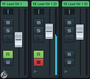 You can toggle between Record Enable buttons or automation Read/Write buttons (shown here) in the MixConsole.