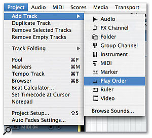 To add a Play Order Track to your project, simply select Project / Add Track / Play Order Track.