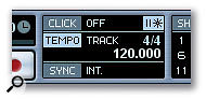 The Master Sync section of the transport panel shows the current tempo and time signature, and whether the Tempo track is active or not. If you can't see this section, right-click on the transport panel in an empty area and make sure Master Sync is checked.