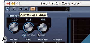 A new button activates the external side-chain input on plug-ins such as Compressor.
