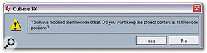 When you change the start time of the Project, either in the Project Setup window or with the Set Timecode at Cursor command, Cubase will prompt you to see if you want any existing objects to move so they stay at the same timecode position. Most of the time you'll want to say 'No', when working with bars and beats. And spot the missing word...