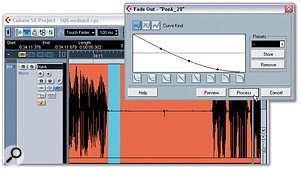 Select an appropriate range and use the Fade-out function (Audio / Process menu) to create a suitable fade-out just after the wanted part of the material. Note the low-level interference in between the two main waveforms. This is the target for this processing technique.
