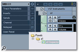 Once you've created a Panel for a VST Instrument, you can view it in the Inspector of a track assigned to that VST Instrument. Just click the small triangle in the title bar of the User Panel Section, then double-click the Panel in the menu that appears.