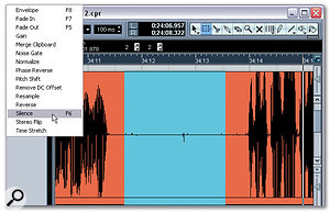 Directly after the fade-out, a second range selection is processed using the Silence function (Audio / Process menu). This range selection begins where the previous range selection for the fade-out ends.