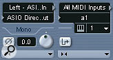 The Input and Output Settings section of the Mixer provides extra controls for audio (left) and MIDI channels.