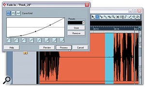 Directly after the silence, a third range selection is processed using the Fade-in function (Audio / Process menu).  This range selection begins where the previous range selection for the silence ends.