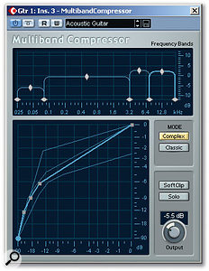 The Multiband Compressor can be used to control both tonal balance and dynamics. In this example, the gain of the various bands is used to roll off the lower frequencies and boost the upper two bands for presence and sparkle.