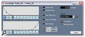 Here, the Crossfade function is used in an unorthodox manner to create a 'bowl'-shaped envelope, a non-destructive alternative to the Fade-out, Silence and Fade-in functions in one easy move. This is invaluable for reducing lip noise and interference between words and phrases in vocal takes.