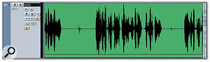 A vocal recording suffering from 'lip-smacking' noises between words, seen as two brief peaks at around 25s and 35s.
