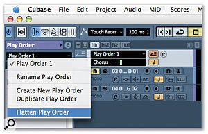 By clicking on the Play Order Track name, you get a drop-down menu that offers the option to 'flatten' your Play Order, which effectively creates a traditional linear Cubase arrangement based on your Play Order.