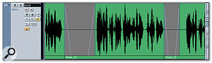 The same vocal recording after processing with the Crossfade function technique described in the main text. Where necessary, the crossfades may be fine tuned directly in the Project window by dragging the whole crossfade to a new position or adjusting the start and end points.