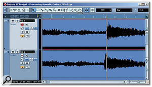 Duplicating a track, offsetting the original relative to the copy and then panning left and right can create the impression of a tightly double-tracked performance.