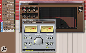 Here, a tape-emulation effect has been set up as a send effect from the drum bus. With the high end rolled off, this can add solidity to the bottom end and mid-range of drums, leaving amore natural, airy sound from the cymbals.