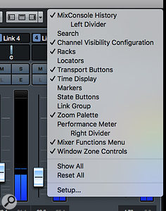 Enabling the Channel Visibility Configuration, Transport Buttons and Zoom Palette in the MixConsole toolbar gives you instant access to some useful options.