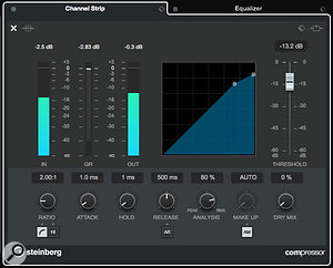 You can now access the full control set for your selected compressor within the Channel Settings window.