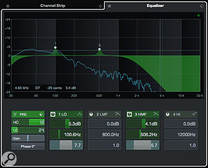 The EQ tab includes full access to the four-band EQ but also the very useful high-cut and low-cut filters from the Pre Rack section.
