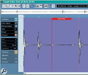 Manual adjustments to an audio clip's grid are made by clicking and dragging the bars to the down beats of the audio, and Control or Alt‑clicking allows you to warp the bar and beat lengths to fit an uneven tempo.