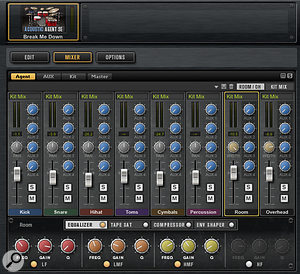 Screen 3: The Acoustic Agent's Mixer includes both overhead and room mic channels.