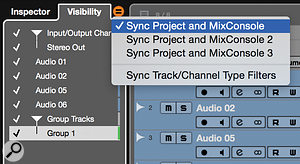 Another preparatory step is to sync the Project and MixConsole visibility and track selections.
