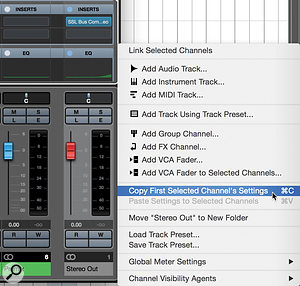 When the Macro has been run, it's easy to copy and paste the channel settings from the Stereo Out to your new Premix bus.