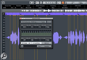 The Quantize Panel can be used to apply a  groove quantise, or simply to quantise your Warp markers to the beat/bar grid.