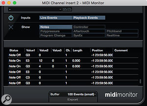 If all this note re-mapping gets a little confusing, the MIDI Monitor plug-in can be a useful troubleshooting tool.