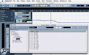 The Project Browser provides a numerical way to edit Automation Events. Here you can see Volume Automation Events for an audio track represented on both an Automation Sub-track in the Project window and in the Project Browser.