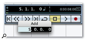 The Add window enables you to add an amount of time to the current position of the Project Cursor and Left and Right Locators if you press '+' on the numeric keypad when editing a time value in the Transport Panel.