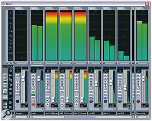 The Mixer window offers many improvements, such as big, colourful VU metering.