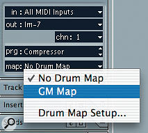 Clicking the Map parameter in the Inspector allows you to set and configure a Drum Map for the selected MIDI Track.
