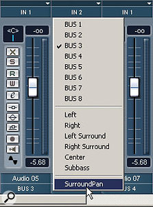 Figure 3: Individual audio channels can be routed to the Surround Panner via the pop-up in the Mixer.