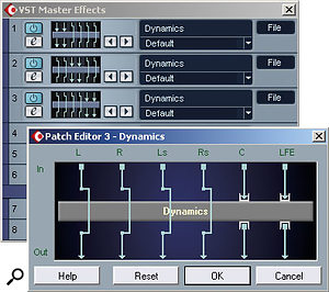 Figure 6: In a surround project, two-channel effects plug-ins can be applied to individual pairs of outputs via the VST Master Effects window.