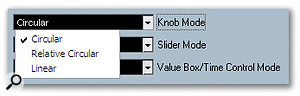 The Editing Controls page in the Preferences window allows you to set one of three behaviours for how knobs (or, to be more polite, rotary controls), such as those used for the EQ settings, can be adjusted by the user.