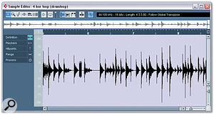 1. Open the drum loop in the Sample editor and make sure that it starts and ends accurately and its length corresponds to the required number of beats. Here the loop lasts for the whole event and the main hits are clearly visible in the waveform.