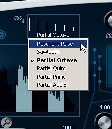 A choice of six waveform types is available for the oscillators.