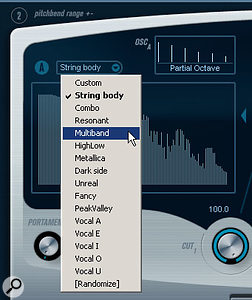 Users can choose from the Spectrum Filter presets or draw their own filter curve with the mouse.