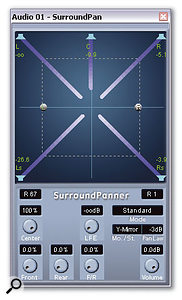 Double-clicking the panner of an audio channel routed to a surround Output buss opens Cubase's Surround Pan window.