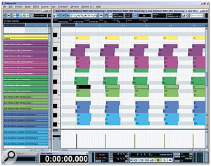 Here, at maximum zoom, with the Ruler set to Seconds (one horizontal division on the grid measures 10ms), you can see the MIDI timing results for my PC. The top (yellow) notes are the original hand-drawn 16th notes; the six sets of purple notes show three passes using the Maple virtual MIDI device, first without and then with system timestamp enabled; these were followed by six sets of green notes for the same options, using my Emu 1820M MIDI ports; and a final set of six blue notes for the Emu using emulated DirectMusic ports. As you can see, on my PC ticking the 'Use system timestamp' box always results in much tighter timing, and the tightest timing is given by Windows MIDI drivers with this option (light green).