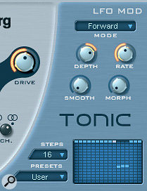The step window within Tonic can be used to provide step‑like opening and closing of the filter that synchronises to the strumming pattern of the loop.