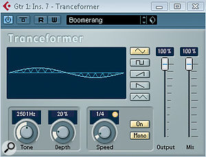 Above: For something more synth‑like, the Ring Modulator, Metalizer or Tranceformer plug‑ins do anice turn.