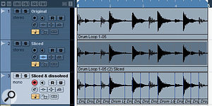 Three versions of the same drum loop: the original; beat-sliced as an audio part; and beat-sliced and dissolved into individual audio events.