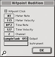 The Hitpoint Audition dialogue allows me to trigger a MIDI note with every Hitpoint. Note that Time and Meter Hitpoints are set to trigger different MIDI notes — because I have one of each for every drum hit, I don't want them both triggering the same note, and in this case, I've deliberately chosen a note for the Time Hitpoints that won't trigger a sample at all.